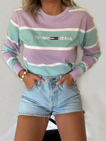 Green Long Sleeve Shirt Collar Stripes Shift Shirts & Tops