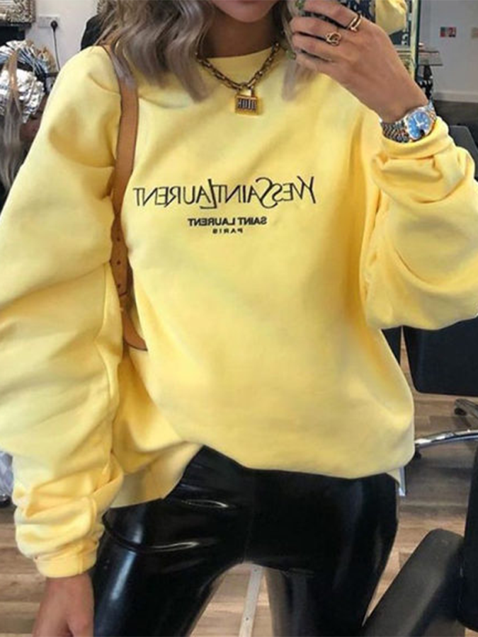 Yellow Long Sleeve Letter Casual Sweatshirt