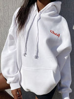 White Long Sleeve Letter Shift Hoodie Sweatshirt