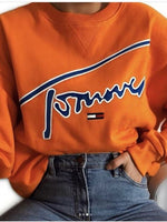 Orange Letter Long Sleeve Floral-Print Sweatshirt