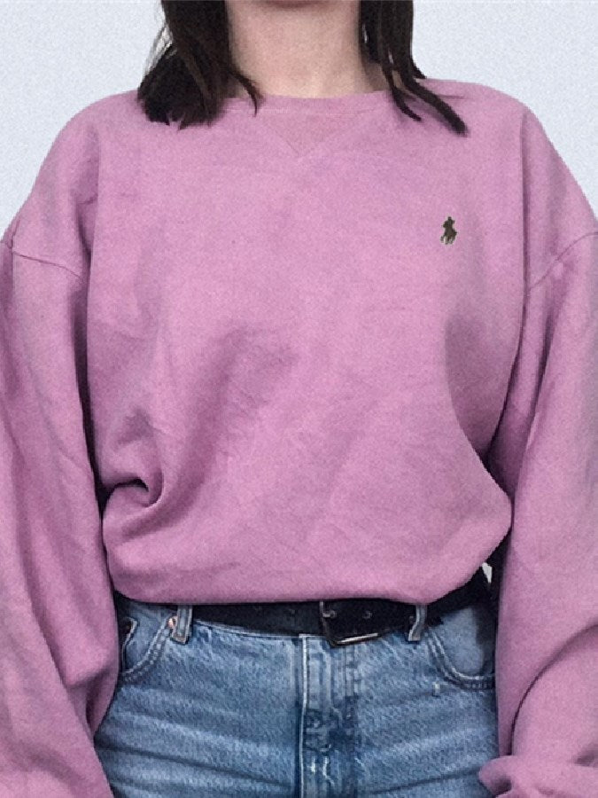 Purple Shift Embroidery Casual Crew Neck Shirts & Tops