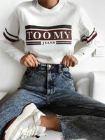 White Crew Neck Long Sleeve Floral-Print Letter Sweatshirt