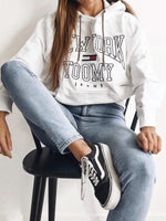 White Crew Neck Shift Floral-Print Casual Sweatshirt