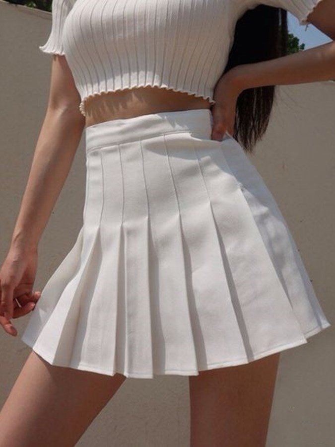 White Casual Pleated Plain Skirts
