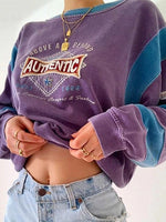 Purple Shift Long Sleeve Letter Crew Neck Sweatshirt