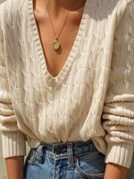 Creamy White Long Sleeve Plain Floral-Print Sweater