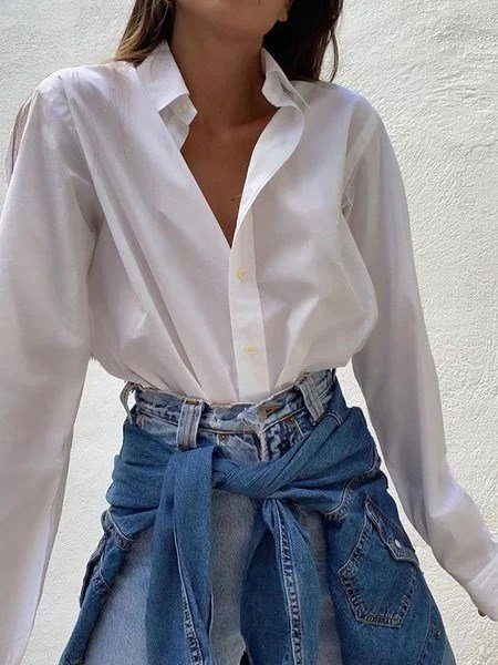 White Shift Embroidered Plain Casual Shirts & Tops