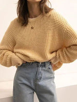 Yellow Long Sleeve Floral-Print Casual V Neck Sweater