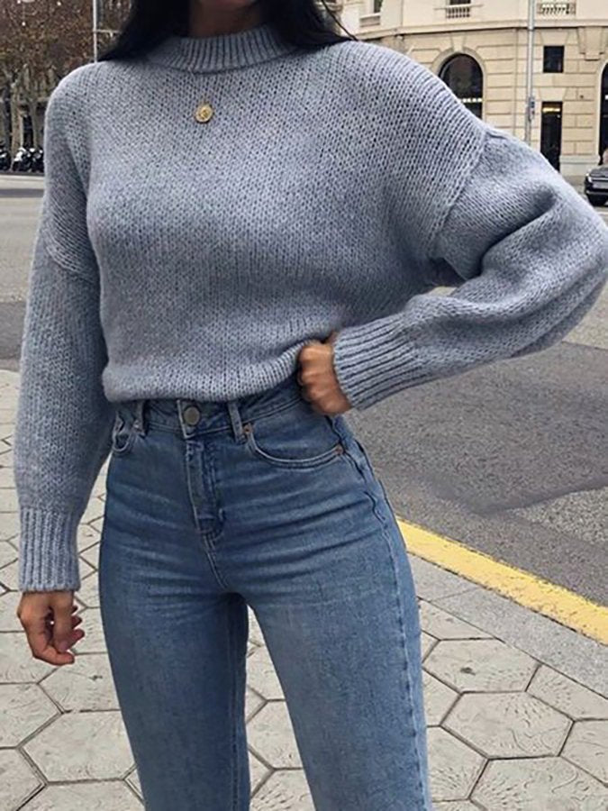 Blue Half Sleeve Shift Crew Neck Embroidered Sweater