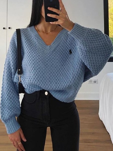 Blue Embroidered V Neck Long Sleeve Plain Shirts & Tops