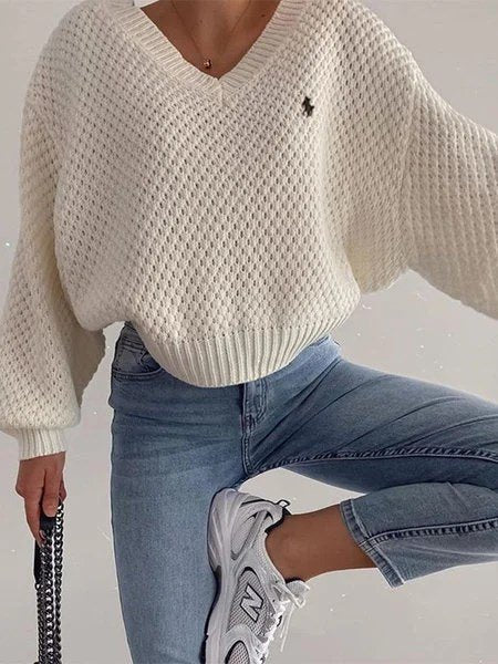 White Shift Long Sleeve Embroidered V Neck Shirts & Tops