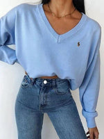 Blue Shift V Neck Long Sleeve Plain Shirts & Tops