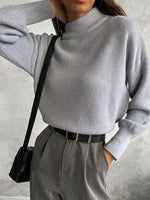 Gray Turtleneck Long Sleeve Sheath Plain Shirts & Tops