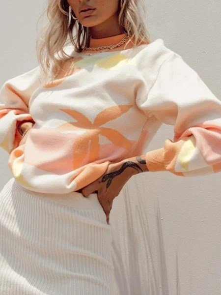 Orange Crew Neck Long Sleeve Ombre/tie-Dye Shift Shirts & Tops