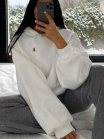 White Hoodie Embroidery Shift Casual Sweatshirt