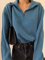Blue Plain Casual Long Sleeve Shirts & Tops