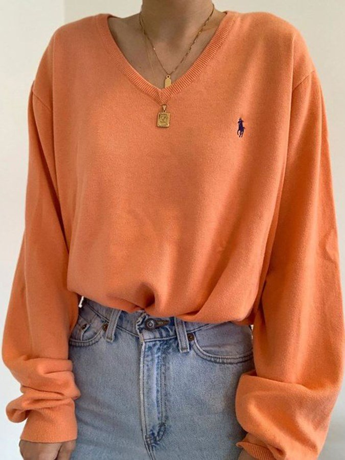 Orange Plain Shift Long Sleeve Shirts & Tops