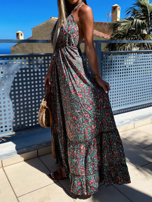 V Neck Swing Sleeveless Tribal Dresses