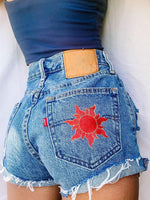 Denim Casual Embroidery Pants Shorts
