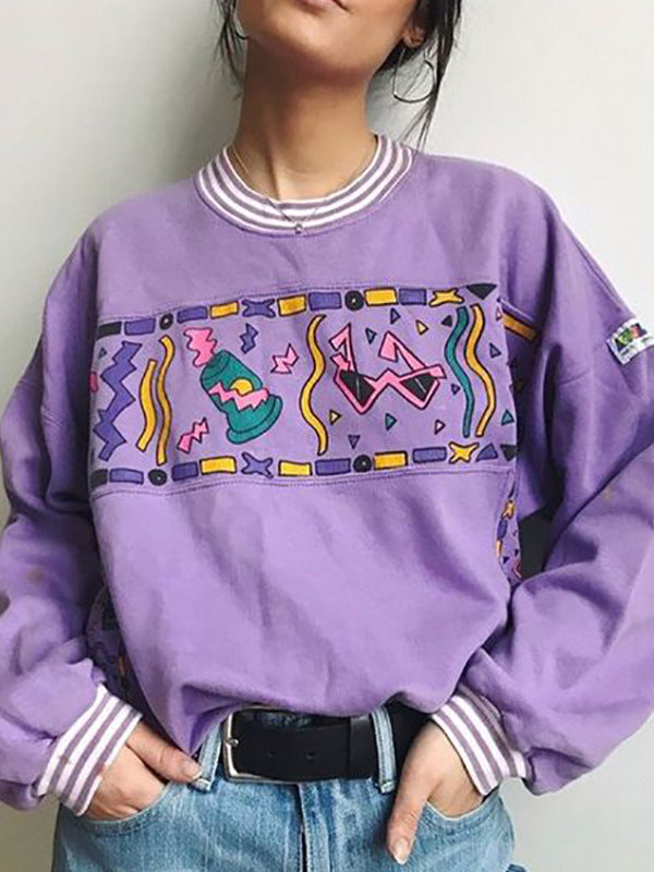 Shift Crew Neck Cartoon Long Sleeve Shirts & Tops