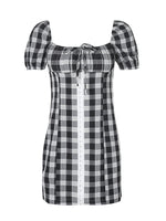 Short Sleeve Checkered/plaid Square Neck Sheath Dresses
