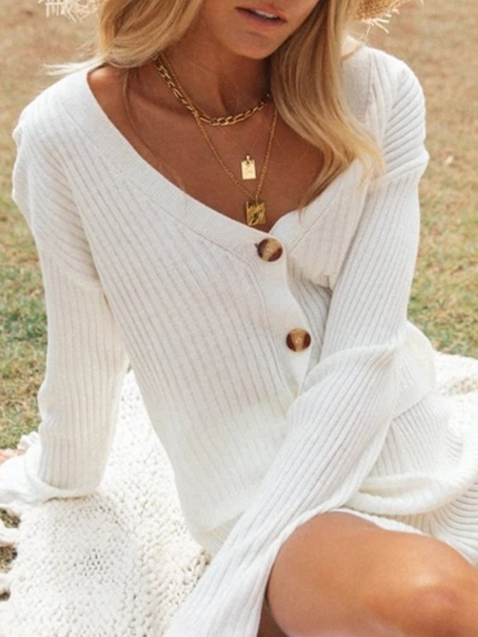 Knitted Plain Long Sleeve Suits