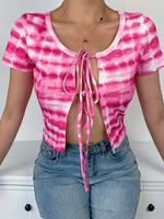 Short Sleeve Tie-Dye Crew Neck Sheath Shirts & Tops