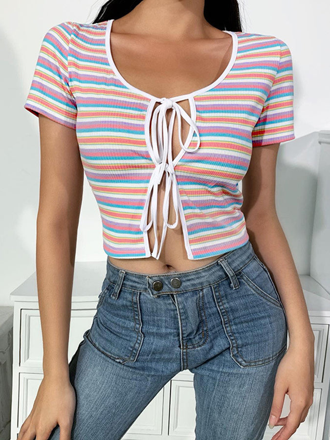 Multicolor Striped Scoop Neckline Shift Short Sleeve Shirts & Tops