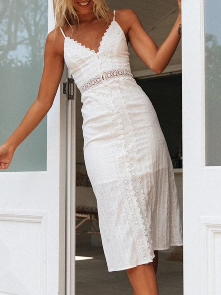 Leisure V-neck Lace Stitching Backless Dress