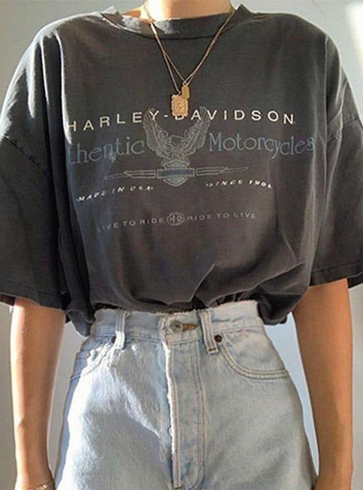 Harley Davidson Crew Neck Letter Vintage Shift Shirts & Tops