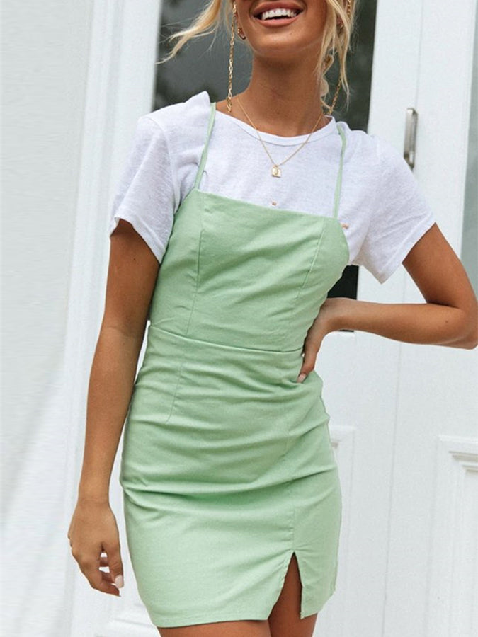 Sheath Plain Square Neck Sleeveless Dresses