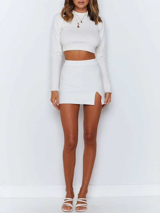 Crew Neck Bodycon Knitted Long Sleeve Suits