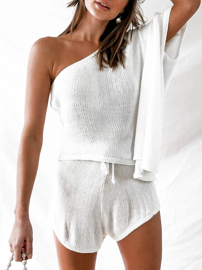 Casual Cold Shoulder Knitted One Shoulder Suits
