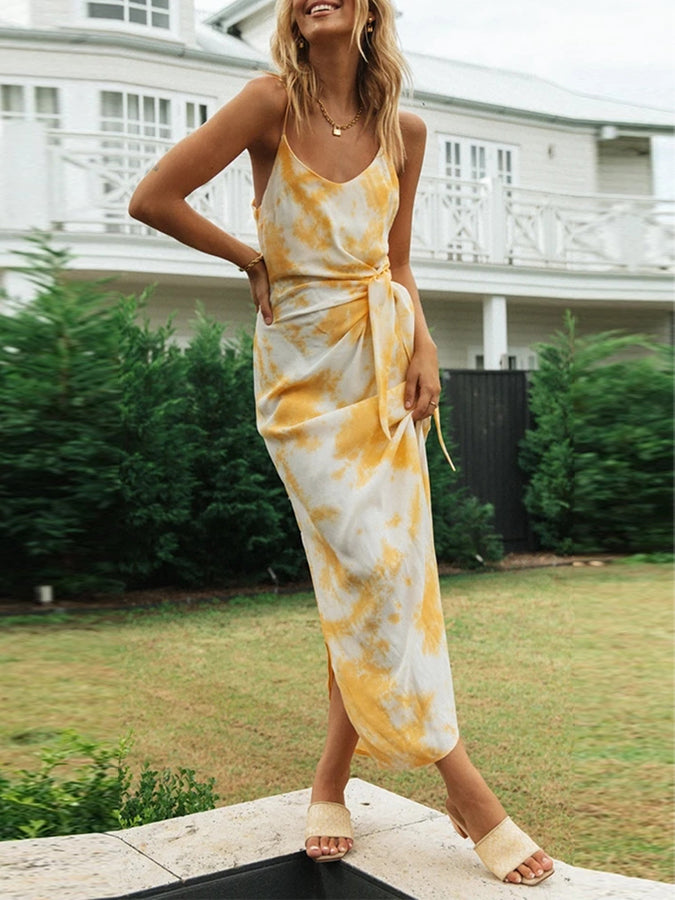 Holiday Sleeveless Ombre/tie-Dye Dresses