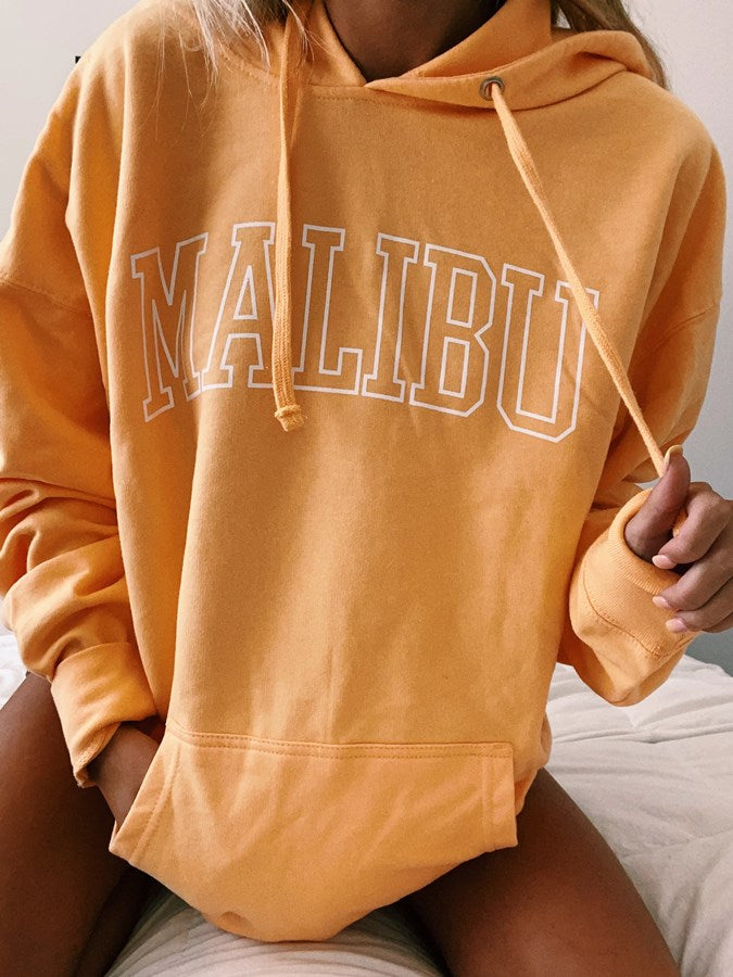 Orange Crew Neck Letter Shift Long Sleeve Sweatshirt