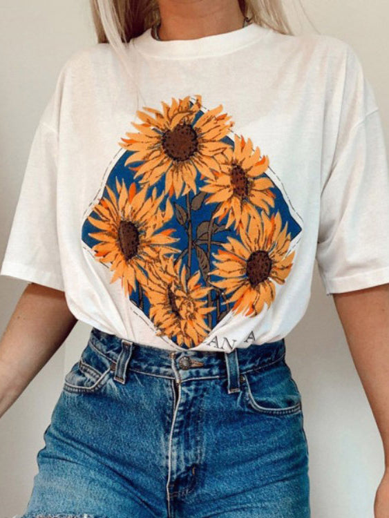 Sunflower Print Crew Neck Casual T-Shirts & Tops