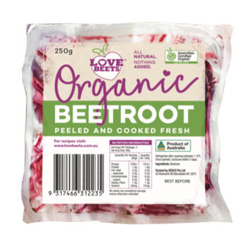 Beetroot Peeled & Cooked Certified Organic - 250g