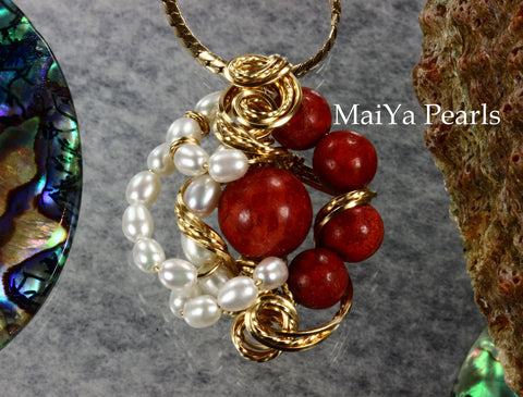 Pendant - One-of-Kind Wire Sculpted Corals & Pearls