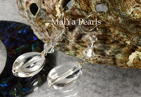Earrings - Crystal Quartz Natural & Swarovski Crystal
