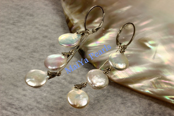 Earrings - 6 Coin High Lustre Coin / Flat Pearls White with Silver & Pinkish Overtones