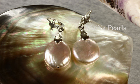 Earrings - AA+ Attractive Purple Coin Freshwater Pearl