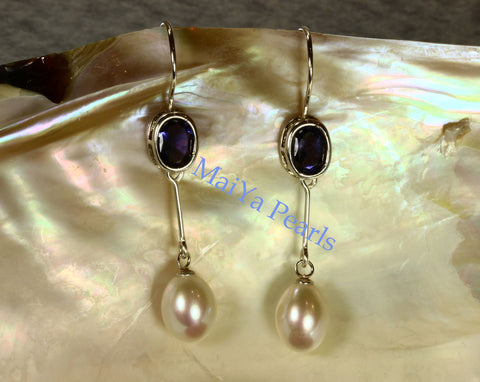Earrings - A+ Iolite Faceted Purplish Blue & AAA Off-White Fine Waterdrop Freshwater Pearl