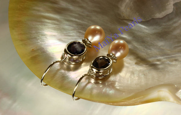 Earrings - Vivid A+ Iolite Natural & High Lustre Peach Freshwater Pearl