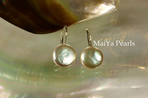 Earrings - Simply beautiful Coin Shape Peach Pearls Silver Leverback Earwire