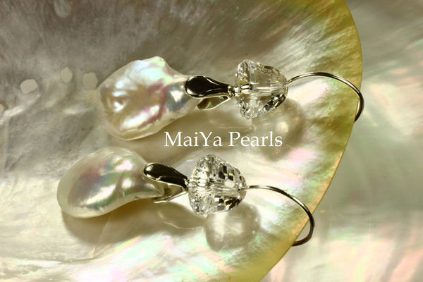 Earrings - AAA Lustrous Coin FW Pearls White & Crystal
