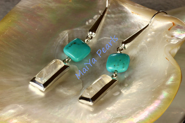 Earrings - Exceptional Blue Rainbow Moonstone Rectangle & Square Turquoise Natural Blue
