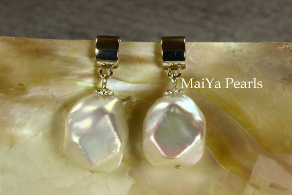 Earrings - Unique Fine Faceted Freshwater Pearls