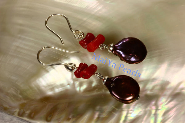 Earrings - Red Coral Earrings- Natural Red Coral Branch & High Lustre Purplish Brownish Black Coin / Flat Pearls