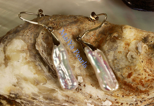 Earrings - High Lustre White Stick Pearl / Biwa Pearl Freshwater