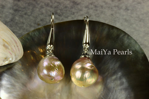 Earrings - Imperfect Beauty of Kasumi-like Freshwater Pearl Purple